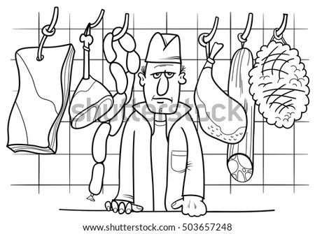 Black White Cartoon Illustration Butcher His Stock Vector