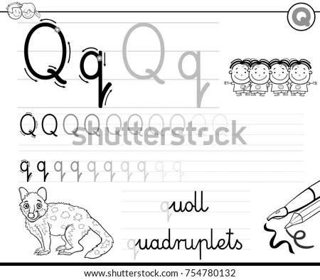 Black White Cartoon Illustration Writing Skills Stock