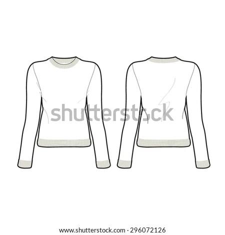 Men Vneck Sweater Template Stock Vector 526344739
