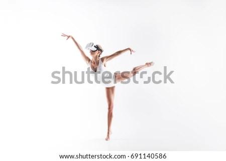 Silhouette Ballerina Classical Tutu White Studio Stock