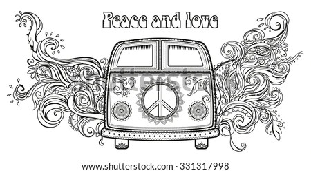 Hippie Vintage Car Mini Van Ornamental Stock Vector