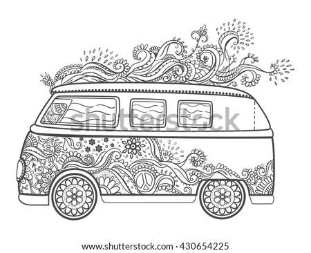 Hippie Vintage Car Mini Van Love Stock Vector 430654225