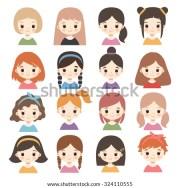 big set cute cartoon girls characters