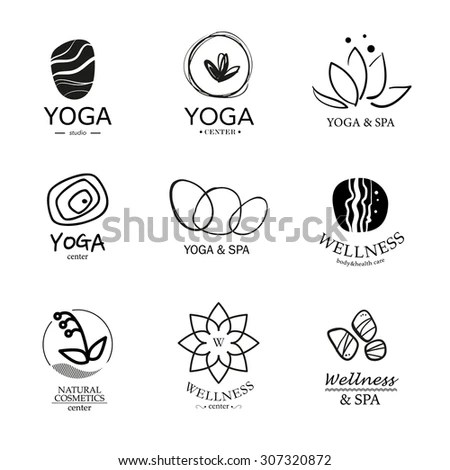 Set Vector Yoga Spa Logo Elements Stock Vector 259471943