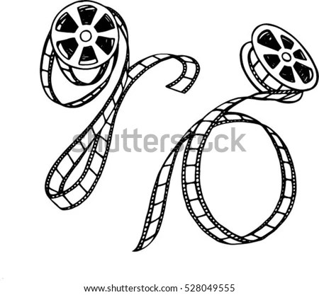 Black White Film Strip Reel Handdrawn Stock Vector