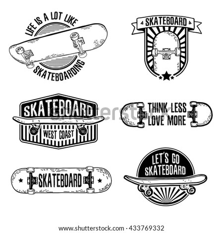 Set Vintage Black White Logos Badges Stock Vector