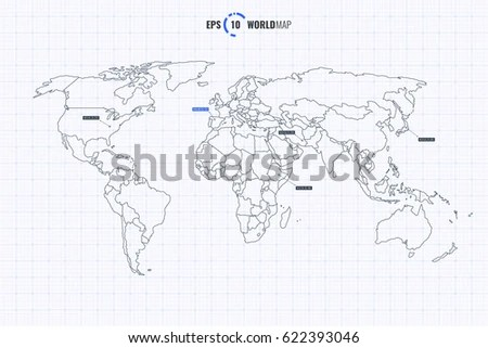 Drawing Map On Squared Paper Stock Vector 107933102