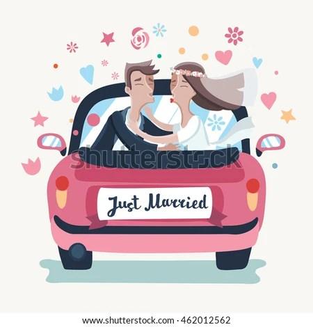 Vector Illustration Cartoon Wedding Couple Driving Stock