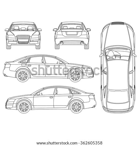 Immagine Vettoriale Stock A Tema Car Line Art All View