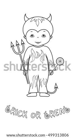 Cartoon Devil Illustration Outline Vector Stock Photos