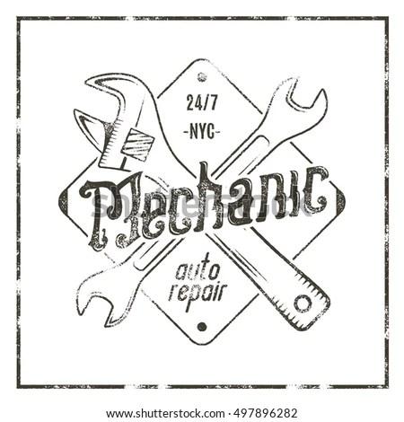 Vintage Tire Shop Label Design Garage Stock Vector