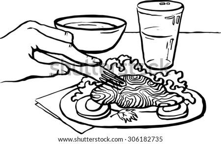 Vector Black White Illustration Man Eats Stock Vector