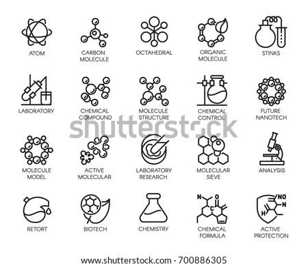 Molecular Chemistry Physics Medicine Icons Linear Stock