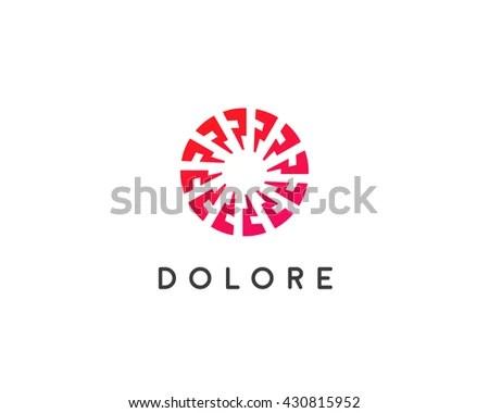 Abstract Sun Logo Design Template Geometric Stock