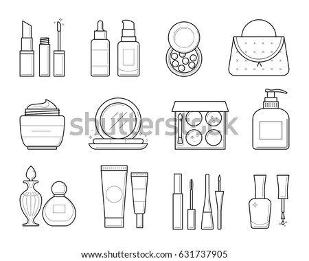 Vector Icons Makeup Tools Thin Line Stock Vector 631737905