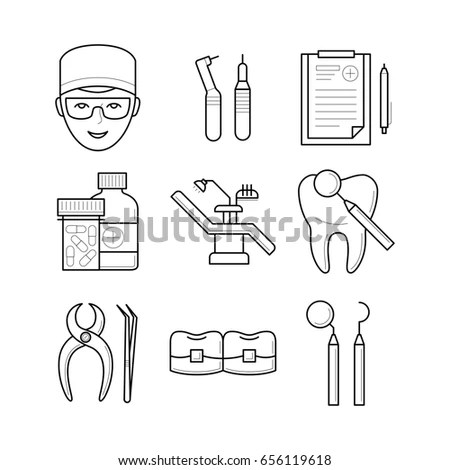 Set Stomatological Objects Doctor Icons Illustration Stock