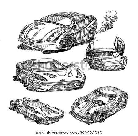 Sketch Carssketch Sport Car Stock Vector 392526535