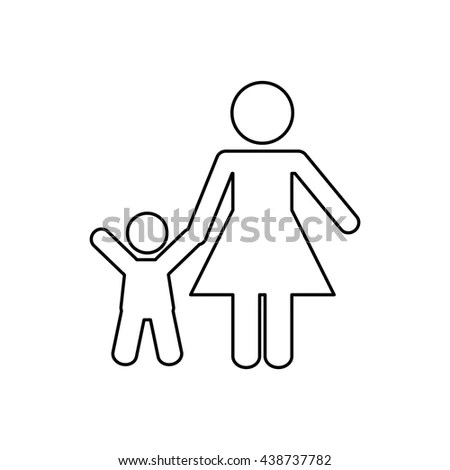 Woman Holding Man On Leash Silhouette Stock Vector