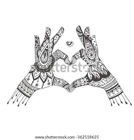 Handdrawn Heart Hands Ethnic Floral Doodle Stock Vector