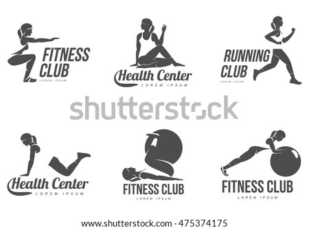 Workout Logo Fitness Aerobic Workout Exercise Stock Vector