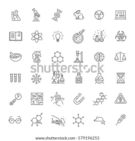 Modern Thin Line Icons Set Biochemistry Stock Vector