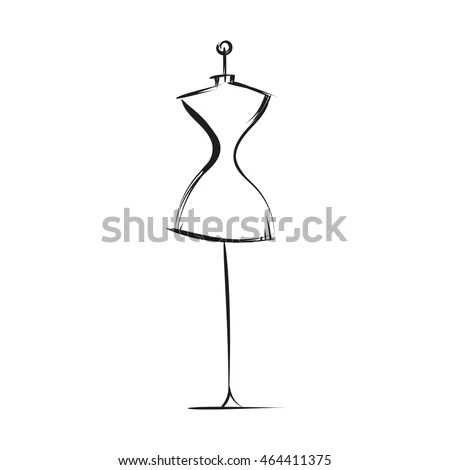 Dummy Dress Hand Drawing Illustration Vector Stock Vector