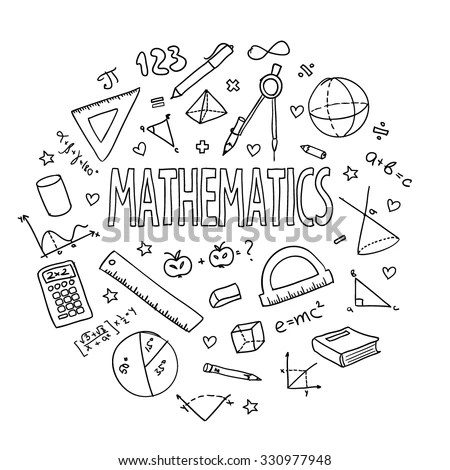 Hand Drawn Vector School Set Mathematics Stock Vector