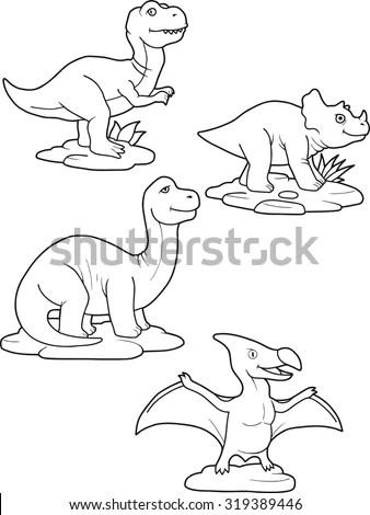 Cute Little Cartoon Dinosaurs Children Hand Stock Vector
