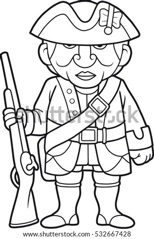 British Soldier Rifle Standing On Post Stock Vector