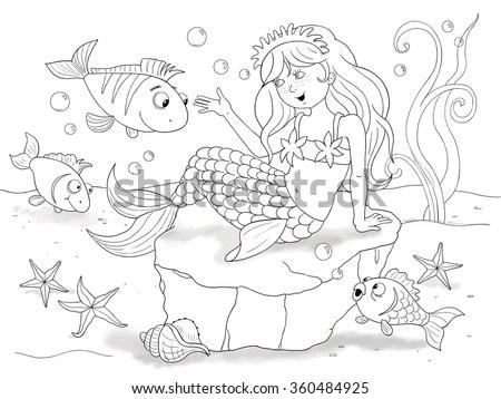 Little Mermaid Fairy Tale Illustration Children Stock