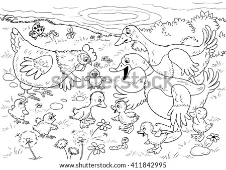 Ugly Duckling Fairy Tale Illustration Children Stock
