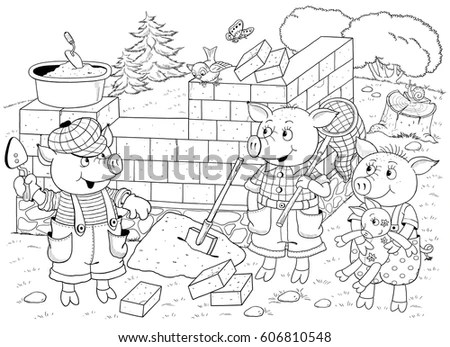 Three Little Pigs Page Four Fairy Stock Illustration