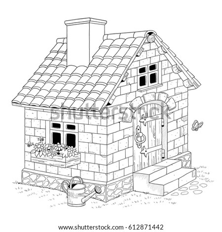 Three Little Pigs Fairy Tale Illustration Stock