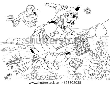 Cute Witch Flying Broomstick Her Crow Stock Illustration