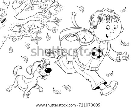 Four Seasons Cute Boy His Dog Stock Illustration 721070005