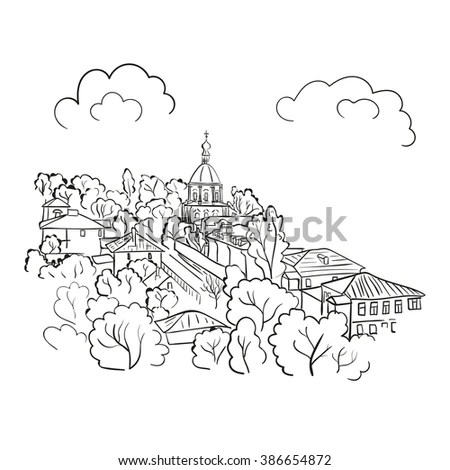 Coloring Page Oriental Temple Japanese Chinese Stock