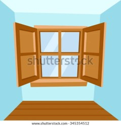 cartoon window vector wooden illustration windows open door shutterstock closed display vectors royalty