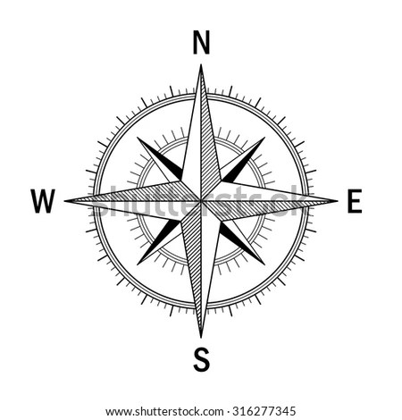 Vector Image Wind Rose Easy Recolor Stock Vector 316277345