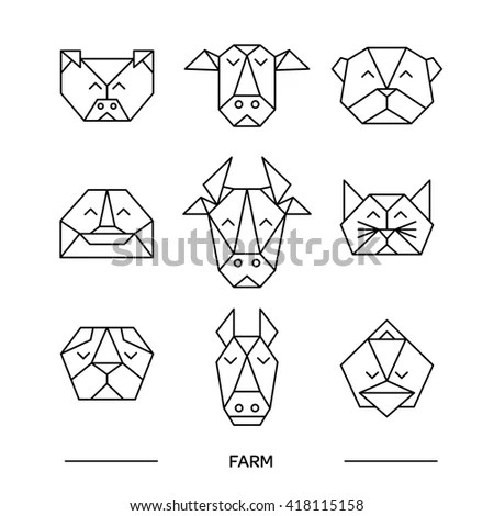 Origami Vector Animals Set Animal Triangle Stock Vector