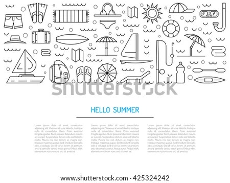 Icons Set Summer Holiday Travel Elements Stock Vector