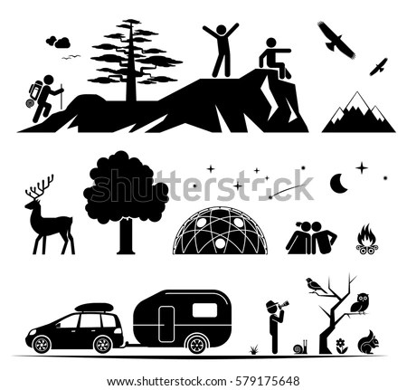 Set Pictogram Icons Presenting Various Activities Stock
