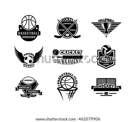 Vector Monochrome Set Basketball Logos Print Stock Vector