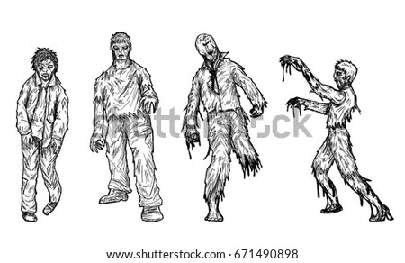 Set Zombie By Hand Drawingzombie Vector Stock Vector