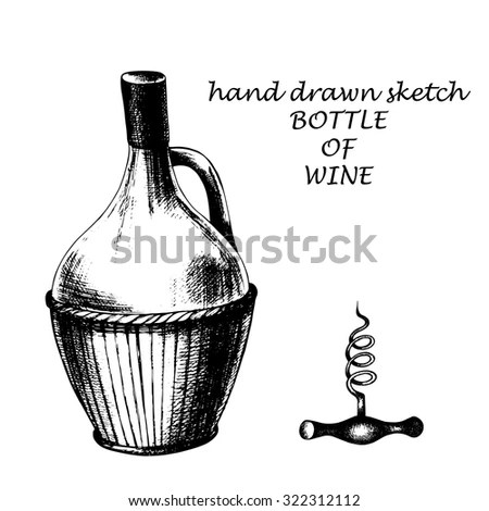 Wine glass bottle and corkscrew, hand drawn elements , ink