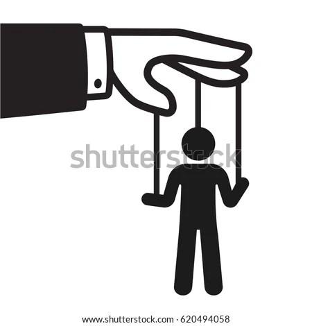 Cartoon Hand String Puppet Silhouette Politics Stock