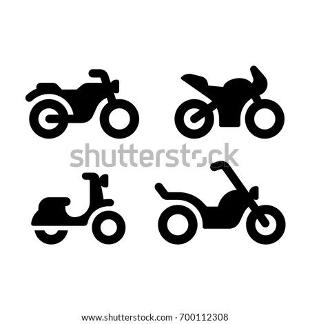 Simple Modern Motorcycle Vector Icon Set Stock Vector