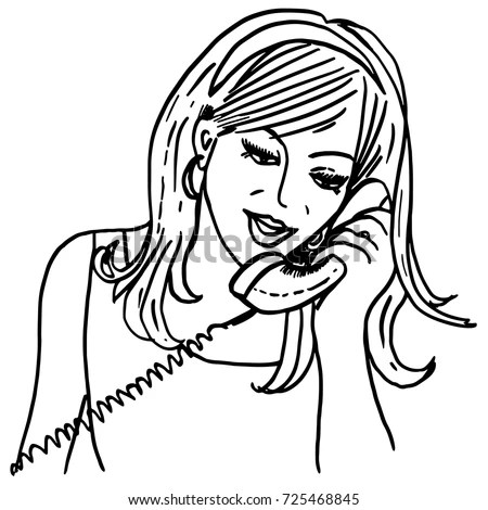Calling Girl Vintage Style Sketch Pretty Stock Vector