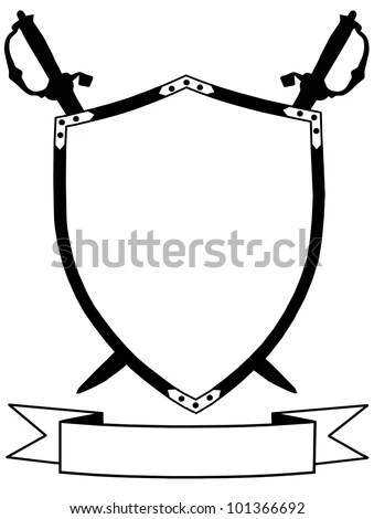 Two Crossed Swords That Behind Shield Stock Vector