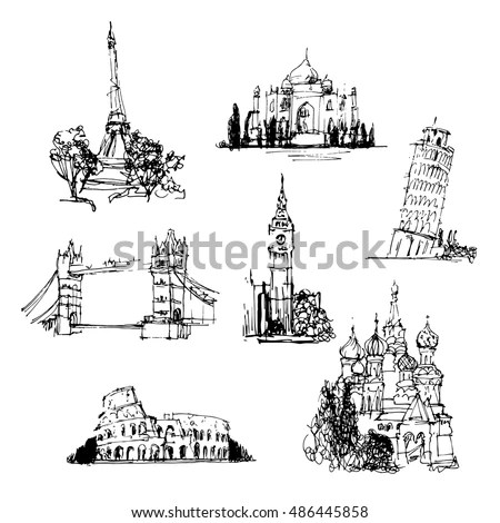 Famous Buildings World Collection Hand Drawn Stock Vector