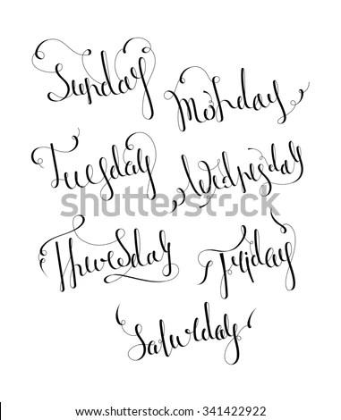 Merry Christmas Handwritten Text Vector Illustration Stock